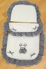 Dolls/Toy Pram set to fit oberon silver cross -  white/navy bunny  large