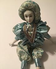 """Pretty Collectible Porcelain Doll In Silk Dress 17"""""""