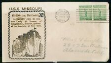 US NAVAL COVER 1944 COVER NEW YORK USS MISSOURI LAUNCHED kkm80759
