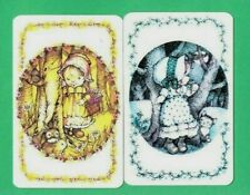 2 VINTAGE PLAYING SWAP CARDS  1970's GIRLS IN CIRCLES #2  BY ARTIST LEE