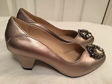 K Clarks Colette Riley Womens UK 4.5 E Wide Fit Metallic Leather Jewel Shoes New