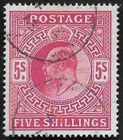 1912 KEVII SG318 5s Carmine High Value Good Used CV £200+