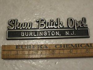 Vintage Dealership Emblem SHAW BUICK OPEL Burlington NEW JERSEY NJ