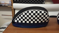 Vespa PX/T5/LML Pair of Side Panel Covers Chequered Design Black & White