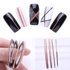 4Pcs Rose Gold Matte Glitter Nail Striping Tape Adhesive Stickers Manicure Decor