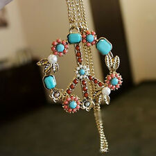 Fashion Retro Leaf Lucky Style Anti-war Peace Flower Pendant Chain Necklace 1 pc