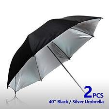 """2 pcs 40"""" Double Layer Black Silver Photo Studio Umbrella Photo Video Reflector"""