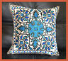 Cotton Ari Chain Stitch Embroidery Hand Made Floral Motif Pillow Cover Kashmir