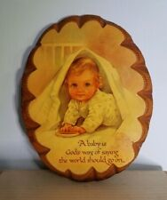 """Vintage Nursery Wall Decor, """"A Baby is God's opinion..."""" 8.5 x 11 oval, wooden"""