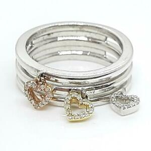 Tri-Color .22ctw H-SI Diamond Solid 10K Yellow & Rose Gold 925 Silver Heart Ring