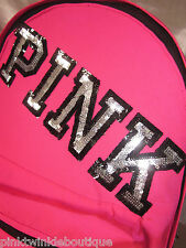 Victoria's Secret PiNK Campus Backpack Hot Neon Bright Sequin BLiNG NEW