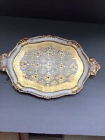 "Vintage GOld Florentine Wood Tray  ITALIAN  Hollywood Regency Measures 17"" x 11"""