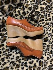 60s-70s Vintage Brown Famolare Size 6.5 N Platform Shoes Woven Mint Condition