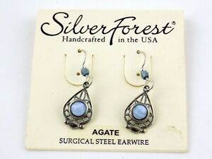 Silver Forest Blue Lace Agate Dangling Earrings Surgical Steel Earwire Hooks