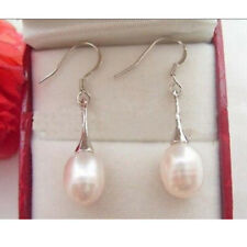 925 Silver Natural White Pearl Dangle Drop Earrings Hook Wedding Jewelry Gift