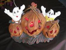 "NEW Made USA Halloween Light 3 Pumpkins w 2 Ghost Drybrushed Ceramic ""My Way"""