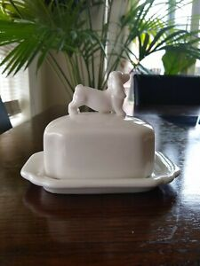 ECP Design Butter Dish White China Dog Small Half Butter Size VGC