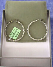 "Jewelry Platinum/Bronze Round Twisted Hoop Earrings Vintage 1 7/8""  (Italy)  B10"