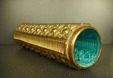 Vase tube moderniste art déco cuivre & verre bleuté 27cm design copper, cristal
