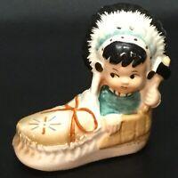 VINTAGE Adorable NATIVE AMERICAN INDIAN Child in Moccasin Salt or Pepper Shaker