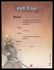 Martial Art Certificates - Samurai Belt Rank Achievement Certificates - Pk.of 10