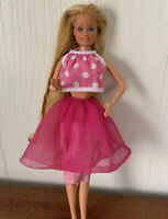 1966 Barbie Doll Long Blonde Hair Twist Turn Pink Polka Dot Vintage Mattel
