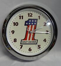 Harley Davidson Motorcycles HD Bulova Wall Clock Chrome #1 One Flag Logo RARE ✔