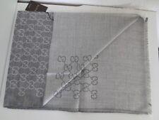 GUCCI LUXURY Unisex Schal Tuch Wolle Seide GG-Muster 70x200 cm GRAU neu