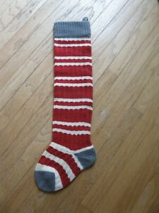 Primitive Country Farmhouse Vintage Christmas  Red Wool Striped Stocking