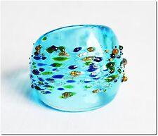 Bague en verre murano mouchetée turquoise T54 bijou cadeau été LAMPWORK