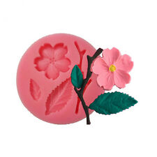 Flower with Leaf Fondant Cake molds, soap candle Silicone Resin Cake Decor mold