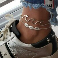 Boho Anklet Wave Shell Ankle Bracelet Charm Thin Chain Surfer Beach Jewelry Gift