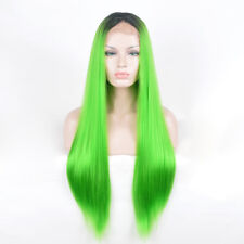 Women Lace Front frontal lace straight hair wig Wigs neon green ombre black