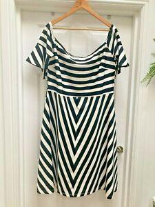 Womens Simply Be Black/white Bardot Dress - UK Size 20