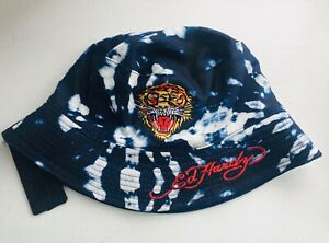 Ed Hardy Adult Reversible Bucket Hat Tiger Print Foldable Packable Size M NWT