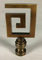 "New 2 1/2"" Greek Key Cast Metal Lamp Harp Finial w/ Antique Brass Finish #LF065A"