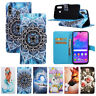 For Various Phone Fashion Painted Flip Antislip Hot Card Wallet Case Cover Back