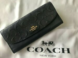 NWT Coach F26460 Leather Signature Wallet Blue Midnight with Gold Hardware
