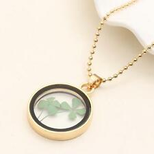Drid Real Green Cute Shamrock Round Four Leaf Clover Pendant Good Gift Necklace