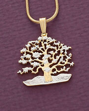 "Tree of Life Pendant & Necklace. Niue Hand cut Coin - 7/8"" diameter ( # 646B )"