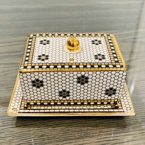 NWT Anthropologie Bistro Tile Hello Butter Dish Gold Mosaic Covered French Cafe