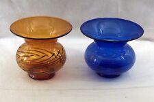 Lauscha Glas um 1955, 2 Vasen braun und blau, mundgeblasen Fadenglas!