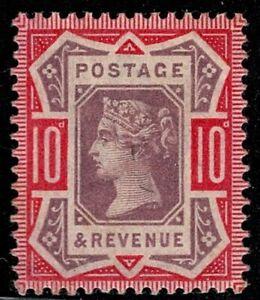 1890 QV SG210 10d Dull Purple & Carmine K39(1) MNH Mint OG CV £90