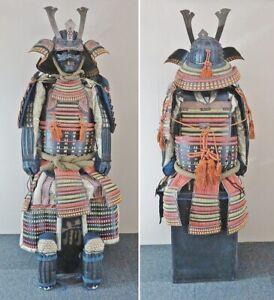 Japanese Antique Samurai Armor Life Size Bushi Yoroi with Black Chest Kabuto