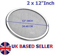 "2 x 12"" inch Aluminium Mash Pizza Baking Tray Flat Screen Wire Thin Crust Pizza"