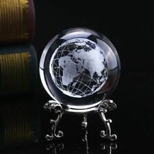 Crystal Glass World Globe Small Decorative Ornament Mini World Map Atlas Decor
