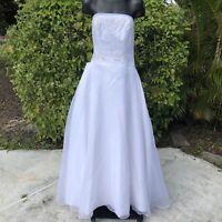 Michaelangelo White Strapless Wedding Dress Womens Size 10 Bridal Gown Beaded