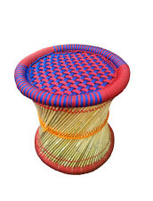 Handmade Stool/Mudha for Furnish Vintage Look Made by Bamboo Stick Colorful Rope