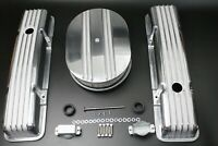 "58-86 SBC Chevy 350 Aluminum Short Retro Finned Valve Covers And 12"" Air Cleaner"