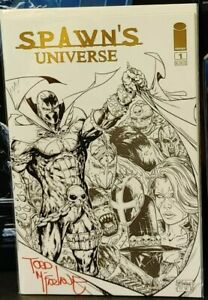 Spawn's Universe #1 (Gold Foil Variant) Signed by Todd McFarlane (in red) 9.6+